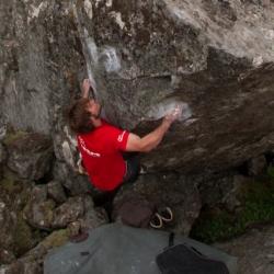 "Paul Nothdurft in ""Cheater an die Wand"", fb7B, Third Ascent"